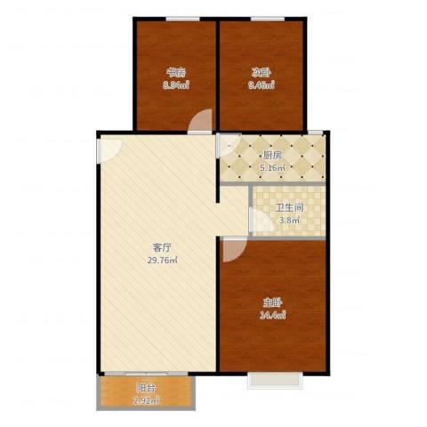 中国铁建·青秀尚城3室1厅1卫1厨93.00㎡户型图