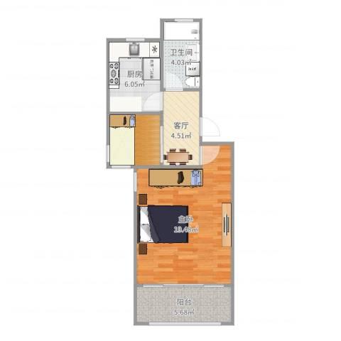 银宏新村1室1厅1卫1厨55.00㎡户型图