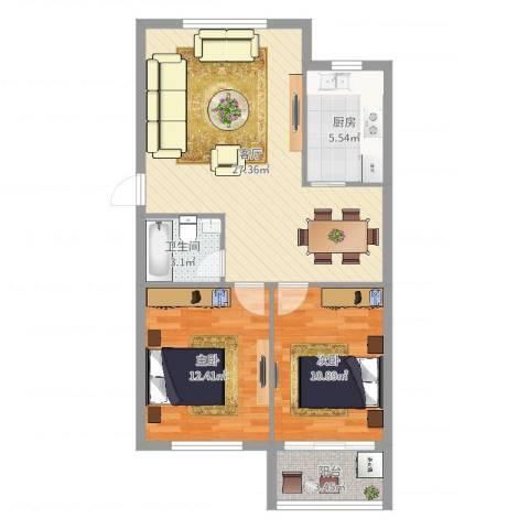 雅渡新村2室1厅1卫1厨78.00㎡户型图