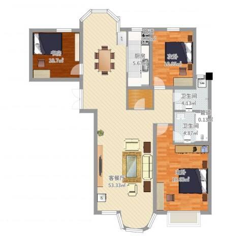 香堤湾3室2厅3卫2厨138.00㎡户型图