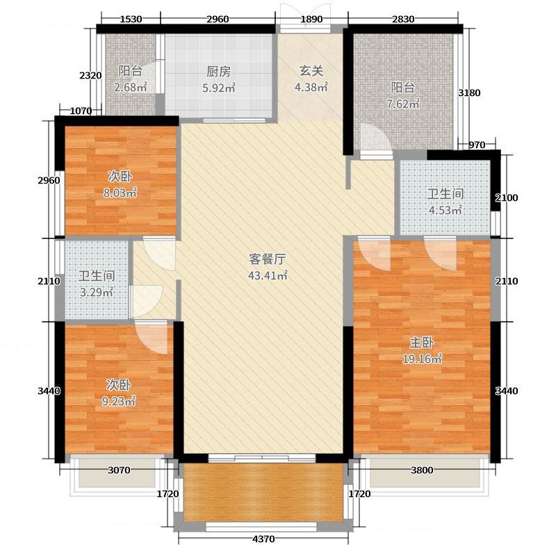 中国铁建国际公馆138.00㎡1、2、5栋03户型4室4厅2卫1厨