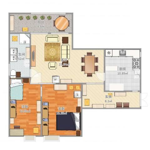 山水文园五期2室1厅1卫1厨108.00㎡户型图