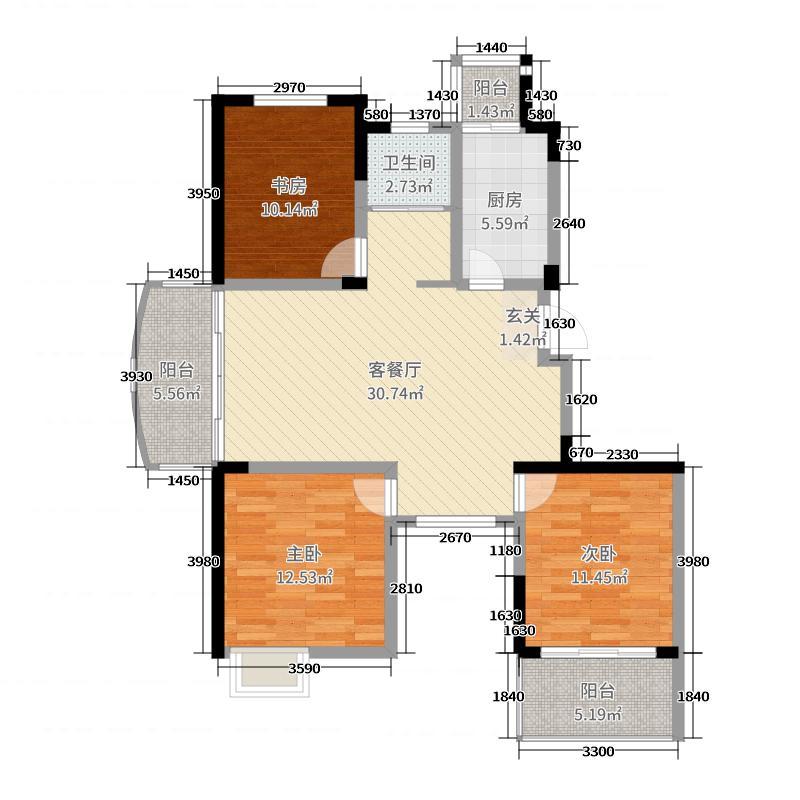 东方威尼斯106.00㎡一期8#楼F户型3室3厅1卫1厨