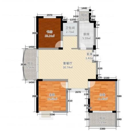 东方威尼斯3室2厅1卫1厨106.00㎡户型图