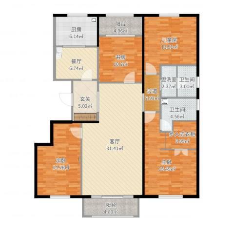 茶乡之家4室4厅2卫1厨161.00㎡户型图