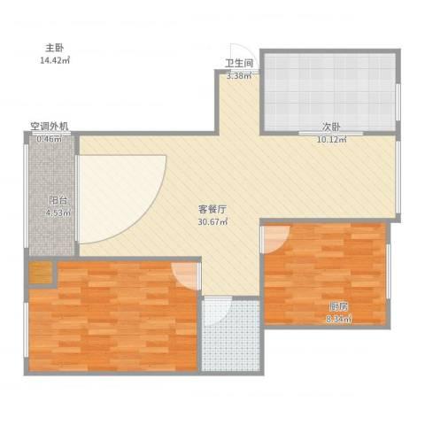 中央公园2室2厅1卫1厨77.46㎡户型图