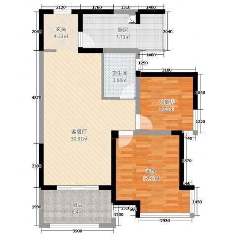 海门东恒盛国际公馆2室2厅1卫1厨87.00㎡户型图