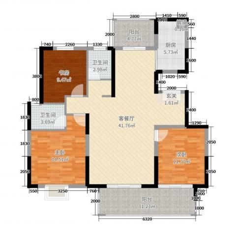 鲁能领秀城・漫山香墅3室2厅2卫1厨135.00㎡户型图