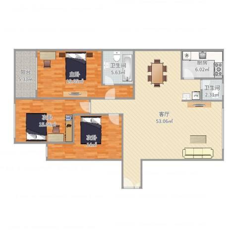 省少管所3室1厅2卫1厨151.00㎡户型图
