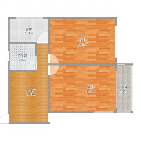 金桥四街坊2室2厅1卫1厨75.00㎡户型图
