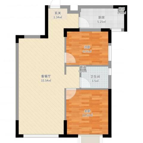 禹州尊府111112室2厅1卫1厨78.00㎡户型图
