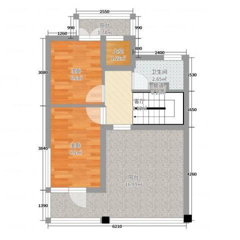 隆海碧海云天2室1厅1卫0厨55.00㎡户型图