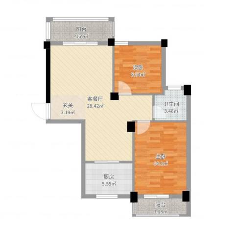 三合院2室2厅1卫1厨85.00㎡户型图
