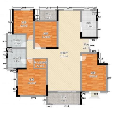 鲁能领秀城・漫山香墅4室2厅2卫1厨165.00㎡户型图