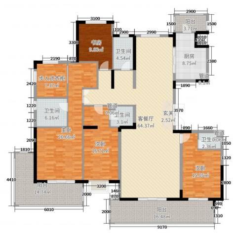 鲁能领秀城・漫山香墅4室2厅4卫1厨243.00㎡户型图