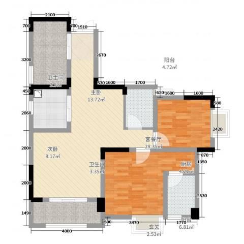 北城蓝湖2室2厅2卫1厨96.00㎡户型图
