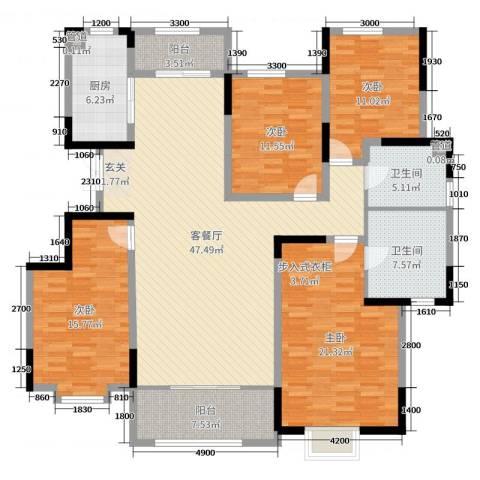 鲁能领秀城・漫山香墅4室2厅2卫1厨169.00㎡户型图