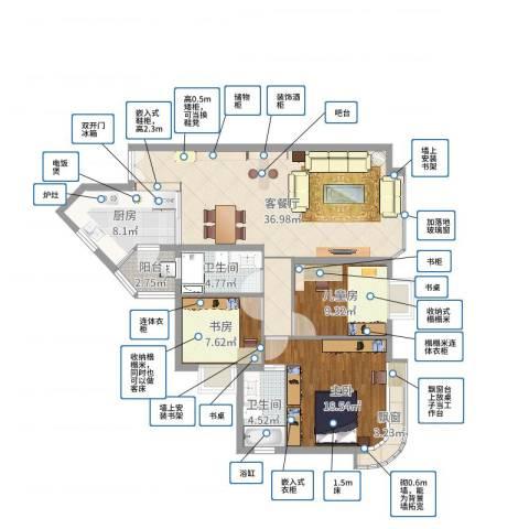 东逸花园3室2厅2卫1厨116.00㎡户型图