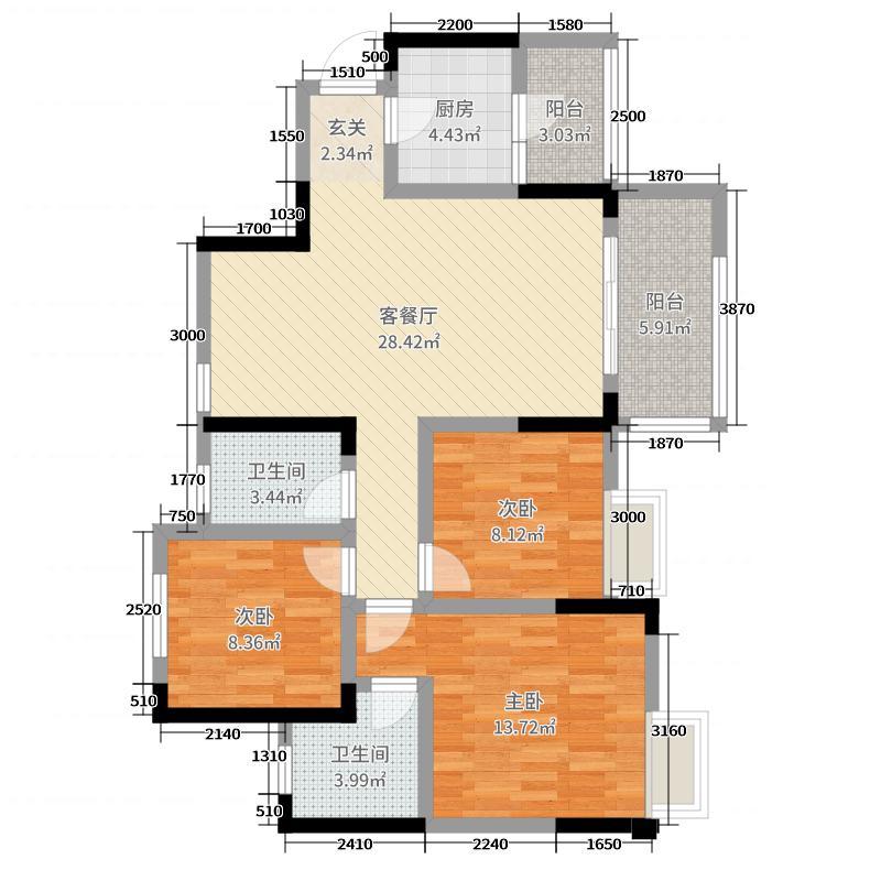 绿林书院106.14㎡2、4栋B4标准层户型3室3厅2卫1厨