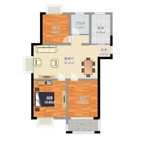 易郡龙腾3室2厅1卫1厨104.00㎡户型图