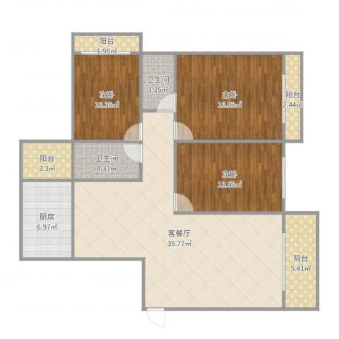 锦绣花城3室2厅2卫1厨135.00㎡户型图
