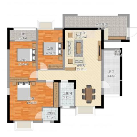 星越・星湖华府3室2厅2卫1厨133.00㎡户型图