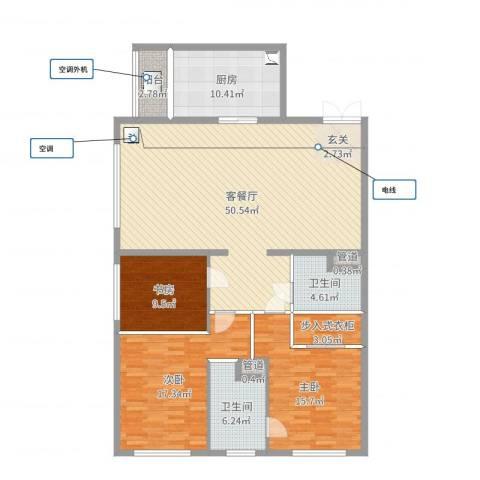 太原茂业天地3室2厅2卫1厨151.00㎡户型图