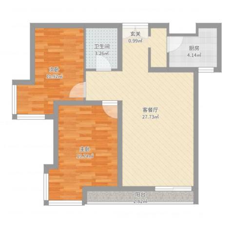 当代名筑2室2厅1卫1厨78.00㎡户型图