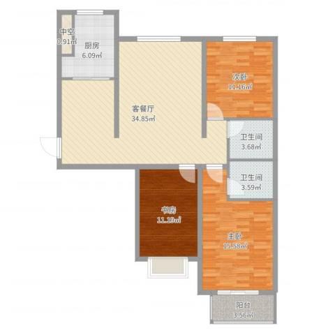 花香维也纳3室2厅2卫1厨113.00㎡户型图