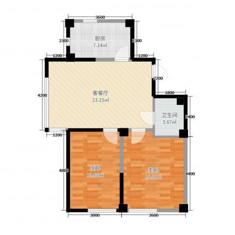 马德里皇家水岸2室2厅1卫1厨89.00㎡户型图