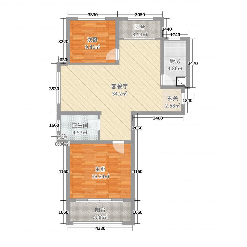 安联生态城98.48㎡8#标准层A户型2室2厅1卫