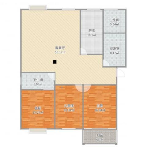 福立花园3室4厅2卫1厨168.00㎡户型图