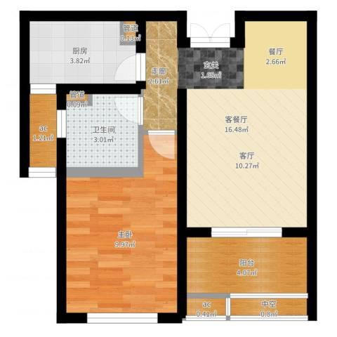 中科苑1室2厅1卫1厨50.00㎡户型图