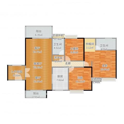 惠阳东方新城3室2厅2卫1厨143.00㎡户型图