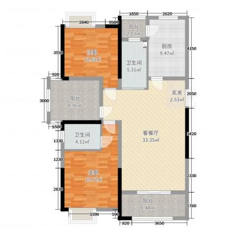 正荣财富中心2室2厅2卫1厨128.00㎡户型图