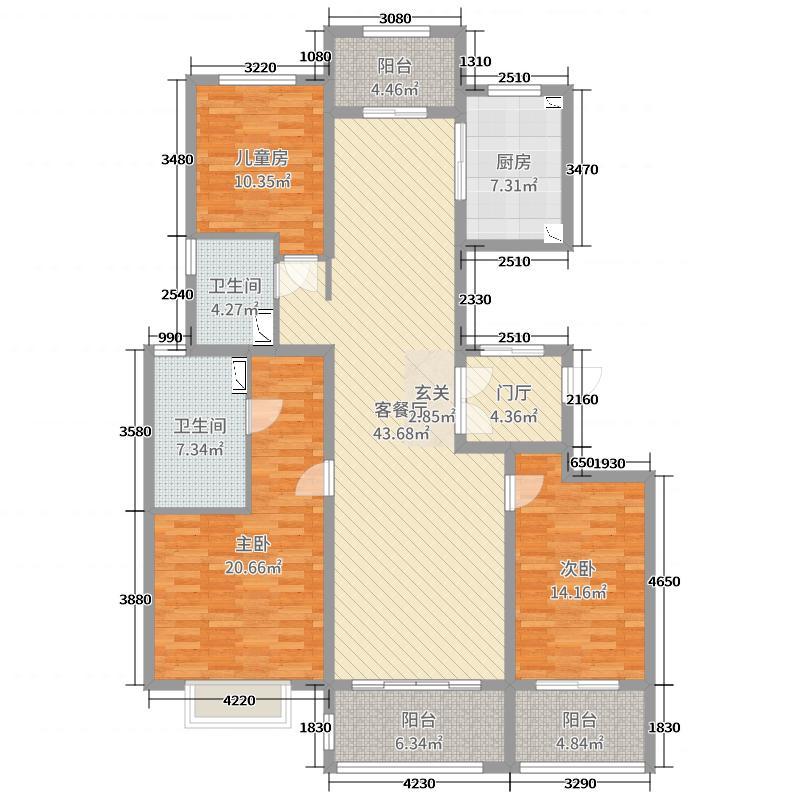 海信君逸179.00㎡5#H1户型3室3厅2卫1厨