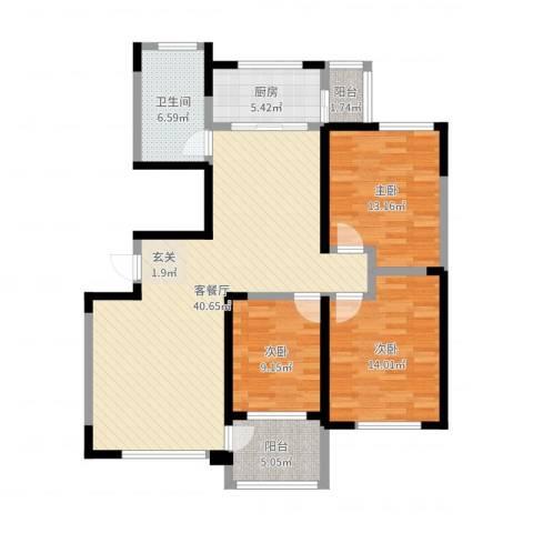 鲁中颐丰花园3室2厅1卫1厨95.77㎡户型图
