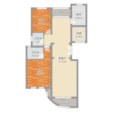 文峰城市广场2室2厅2卫1厨108.00㎡户型图