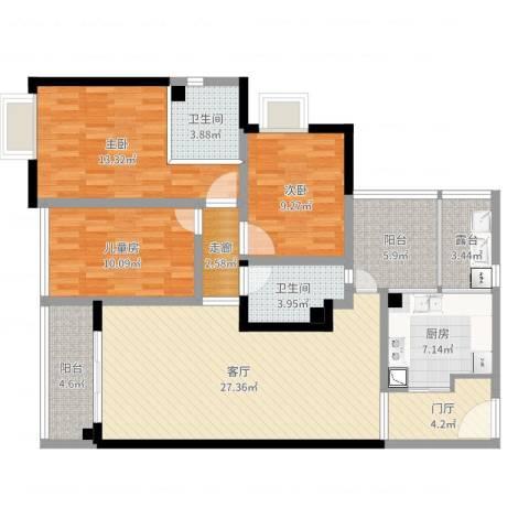 东福宏洲3室1厅2卫1厨120.00㎡户型图