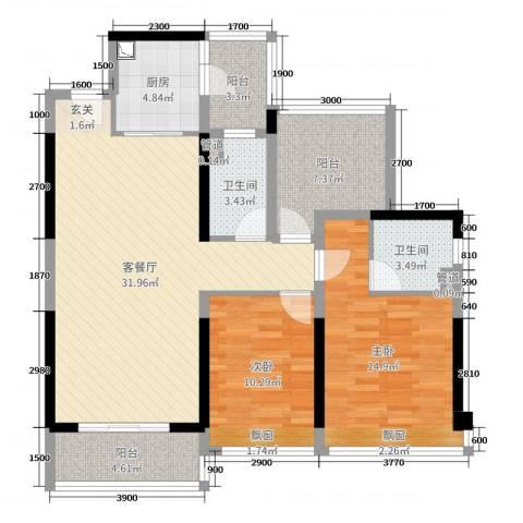 碧桂园・翡翠山2室2厅2卫1厨84.41㎡户型图