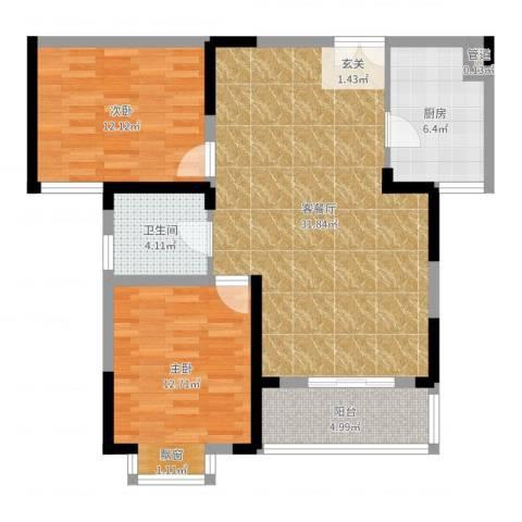 四季花都2室2厅1卫1厨90.00㎡户型图