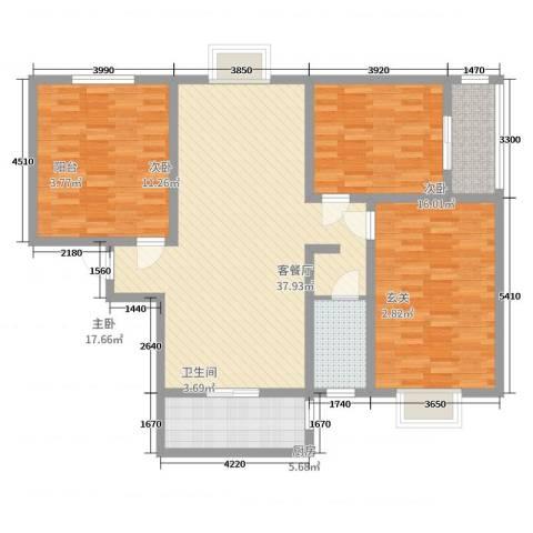 河南省巩义市米河镇时代广场小区3室2厅1卫1厨120.00㎡户型图