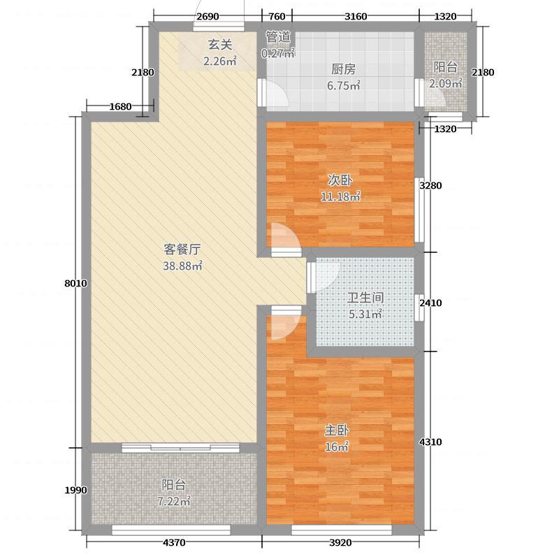天骄花园109.62㎡C户型2室2厅1卫1厨