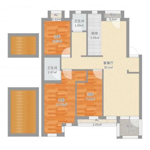 钻石湾地中海阳光3室2厅5卫1厨93.00㎡户型图