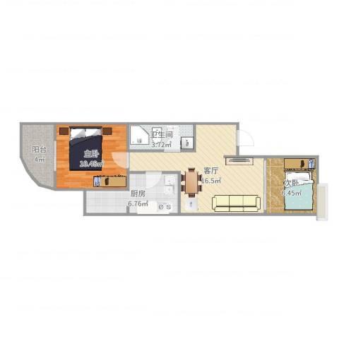 新街口西里三区2室1厅1卫1厨60.00㎡户型图