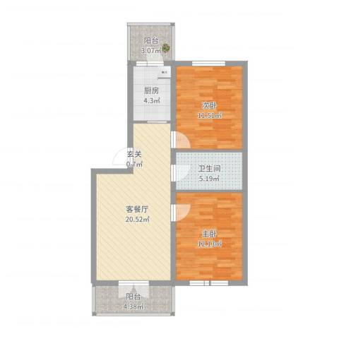 阳光育博苑2室2厅1卫1厨76.00㎡户型图