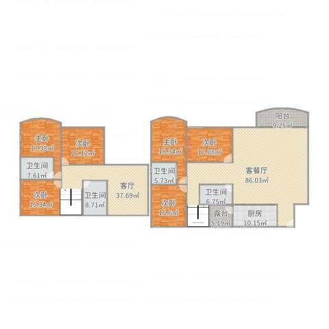 祈福南湾半岛别墅6室3厅4卫1厨347.00㎡户型图