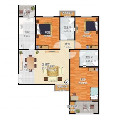 恒隆广场3室2厅2卫1厨144.00㎡户型图
