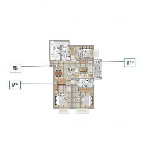 迎西城・龙湾佳园3室2厅2卫1厨105.00㎡户型图