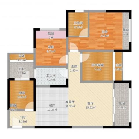 碧云龙庭汇景2室2厅2卫1厨108.00㎡户型图